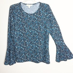 Michael Kors Long Bell Sleeve Blouse Blue